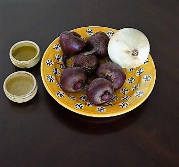 Beets, Onion, Olive Oil, Vinegar