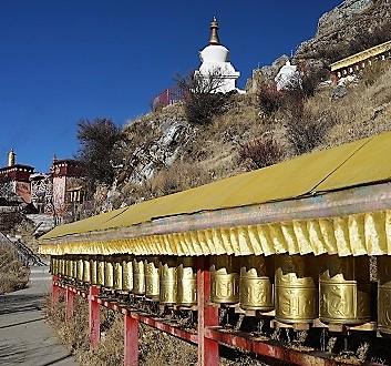 China, Tibet, Drak Yerpa Meditation Caves, Prayer Wheels