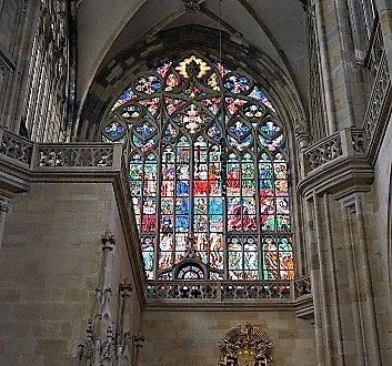 Czech Republic, Prague, St. Vitus Cathedral, Stained Glass Window