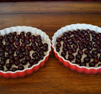 France, Cherries in Baking Platters