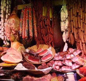 Austria, Vienna, Christmas Market Meats