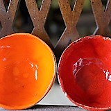 Poland, Red and Orange Ceramic Bowls