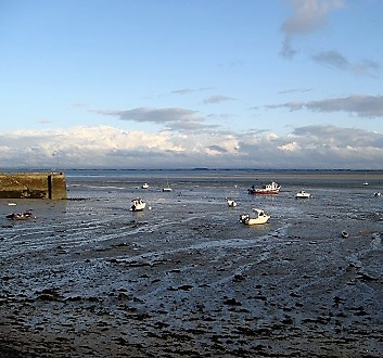 France, Brittany, Cancale, Harbour, Low Tide