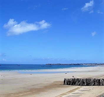 France, Brittany, Saint-Malo Beach, View from Hotel Le Nouveau Monde