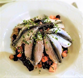 Russia, Saint Petersburg, Vinegret Salad with Fish