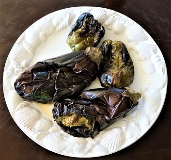 Roasted Eggplants and Green Peppers