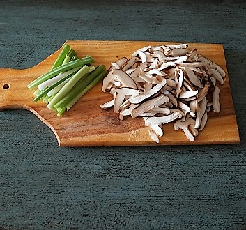 Sliced Scallions, Shitake Mushrooms
