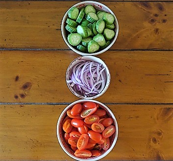Cucumbers, Tomatoes, Red Onion