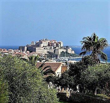France, Corsica, La Villa Hotel in Calvi, Citadel View