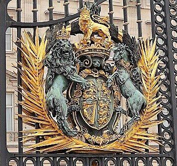 England, London, Royal Coat of Arms at Buckingham Palace