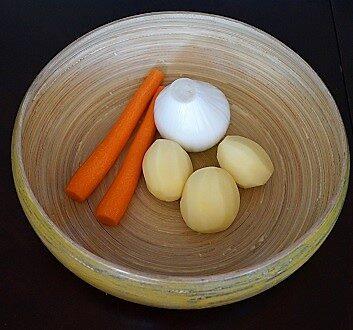Carrots, White Onion, Potatoes