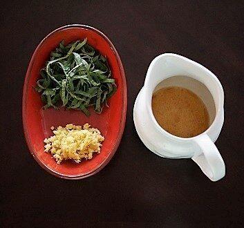 Fresh Ginger, Green Shiso Leaves, Salad Dressing