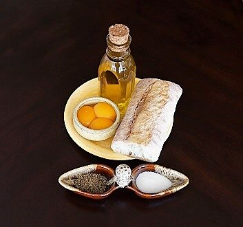 Egg Yolks, Olive Oil, Bread, Black Pepper, Sea Salt