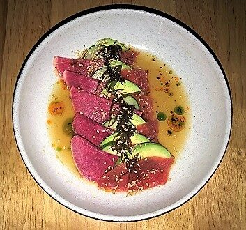USA, New York, Sen Sakana Restaurant, Tuna Sashimi
